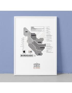 Affiche Vignoble de Bordeaux La Majorette à moustache - Affiches et Cartes