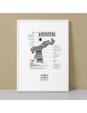 Affiche Vignoble du Languedoc-Roussillon La Majorette à moustache - Affiches et Cartes