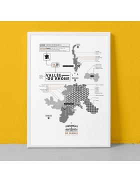 Affiche Vignoble de la Vallée du Rhône La Majorette à moustache - Affiches et Cartes