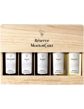 Caisse Bois Panaché - 5 bouteilles - Mouton Cadet Réserve