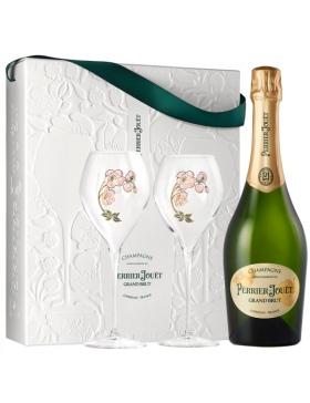 Champagne & Idées Cadeaux - Perrier-Jouët Grand Brut Coffret 2 Flûtes