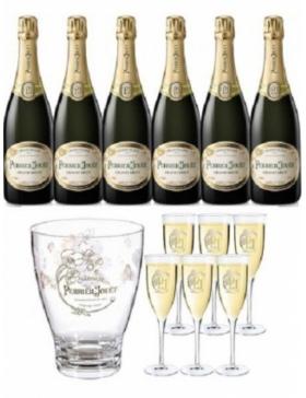 Champagne & Idées Cadeaux - Perrier-Jouët Grand Brut Coffret 6 Bouteilles + 6 Flûtes + 1 Seau