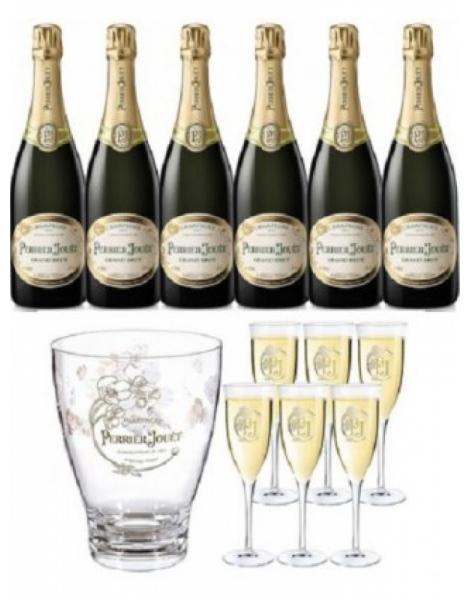 Perrier-Jouët Grand Brut Coffret 6 Bouteilles + 6 Flûtes + 1 Seau