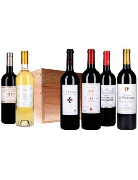 Caisse Bois Panachées Bordeaux AOP - 6 x 75cl - Vin Bordeaux