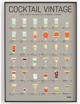 Affiche Cocktail Vintage La Majorette à moustache